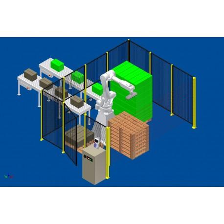 RFA Robotpalletiser systeem RD080N voor 2 lijnen met handmatige afvoer beladen pallets