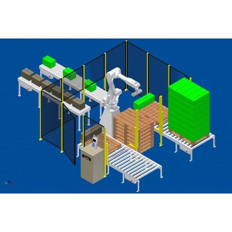 RFA RD080N Robot Palletiseersysteem voor 2 lijnen met 2 palletbanen