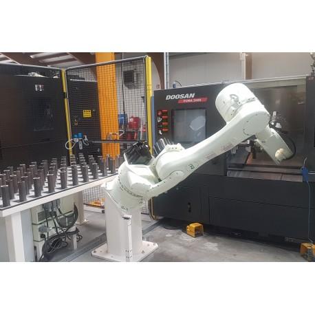 RFA Robotloader RS080N met RFA-Raster bij Doosan Puma draaibank